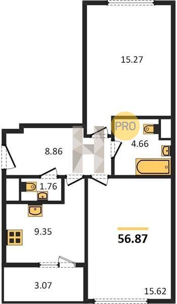 2-комнатная квартира в ЖК Преображение