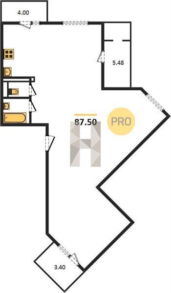 3-комнатная квартира в ЖК на Набережной