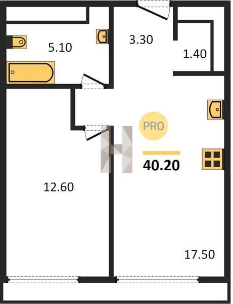 1-комнатная квартира в ЖК D1 (Д1)