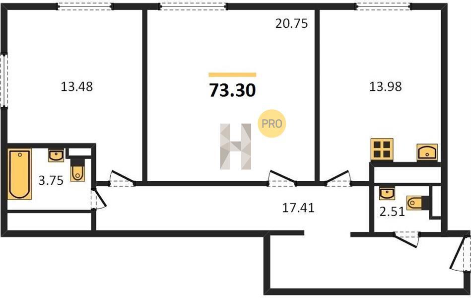2-комнатная квартира в ЖК Прайм Тайм