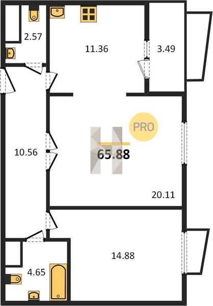 2-комнатная квартира в ЖК Город на реке Тушино-2018