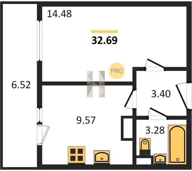 1-комнатная квартира в ЖК Пригород лесное